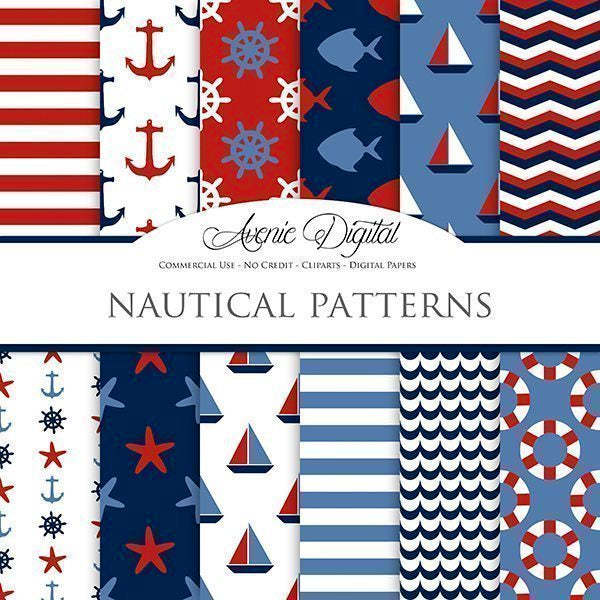 Nautical Digital Paper  Avenie Digital    Mygrafico