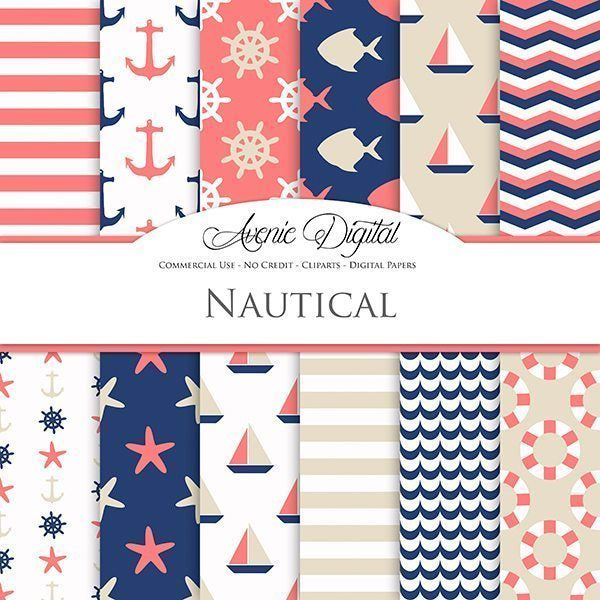 Coral and Navy Nautical Digital Paper  Avenie Digital    Mygrafico