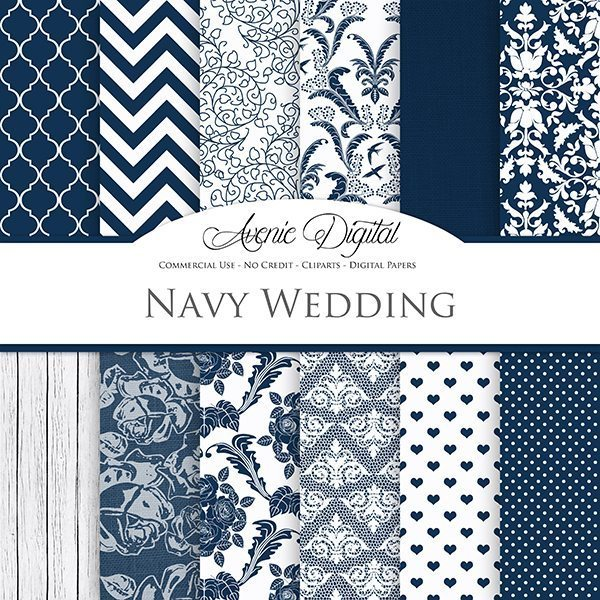 Navy Wedding Digital Paper  Avenie Digital    Mygrafico