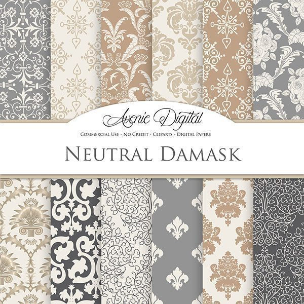 Neutral Damask Digital Paper  Avenie Digital    Mygrafico