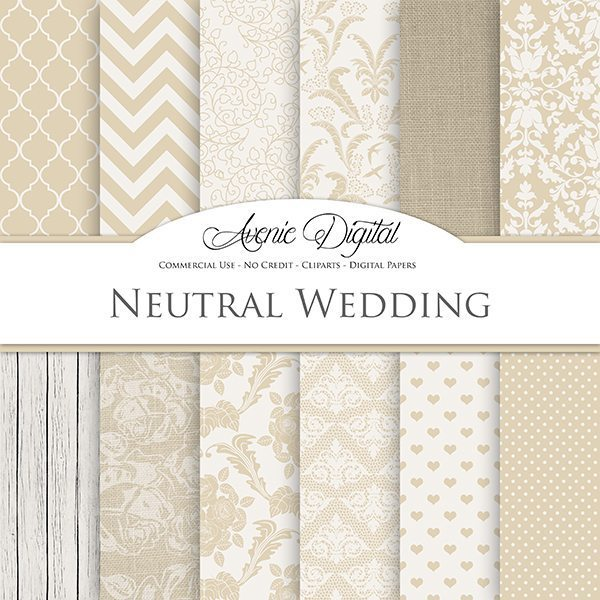 Neutral Wedding Digital Paper  Avenie Digital    Mygrafico