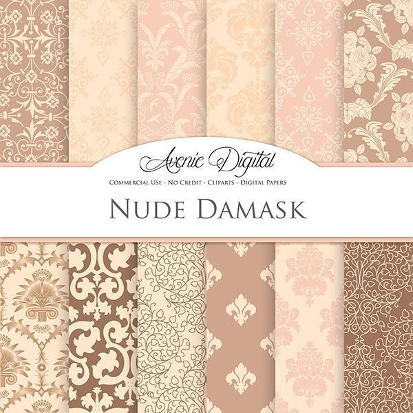 Nude Damask Digital Paper