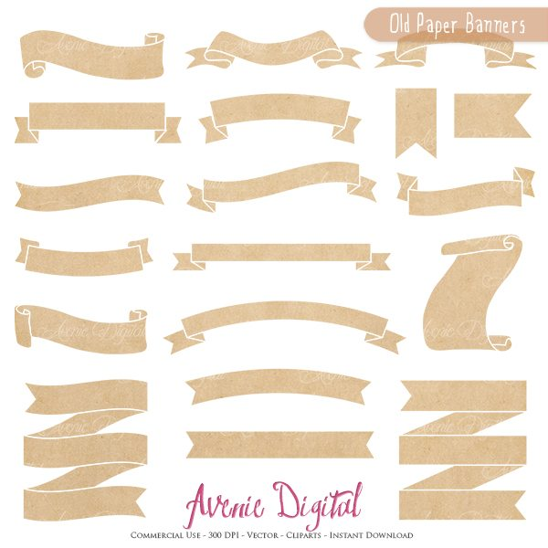 Old Paper Banner Clipart. Scrapbook printables, Kraft Paper ribbons banners. Commercial Use Clip art logo graphics  Avenie Digital    Mygrafico