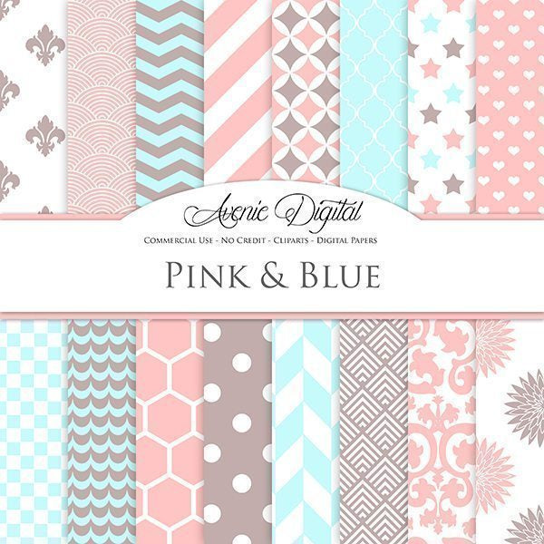 Pastel Pink, blue and brown Digital Paper  Avenie Digital    Mygrafico