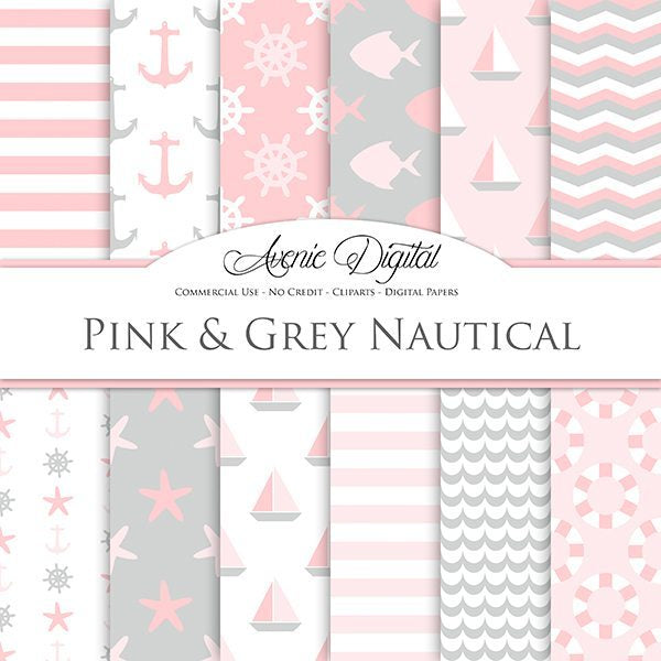 Pink and gray Nautical Digital Paper  Avenie Digital    Mygrafico