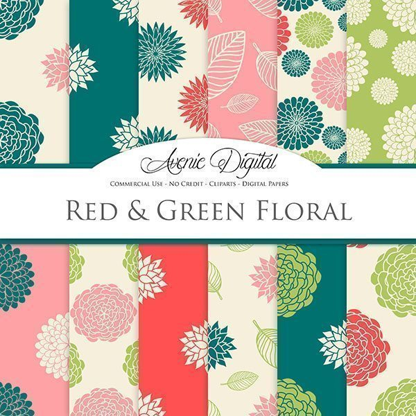 Red and Green floral Digital Paper  Avenie Digital    Mygrafico