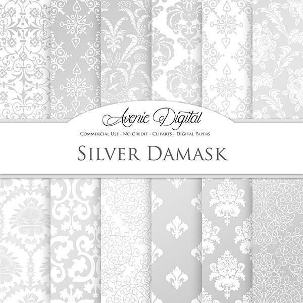 Silver Damask Digital Paper  Avenie Digital    Mygrafico