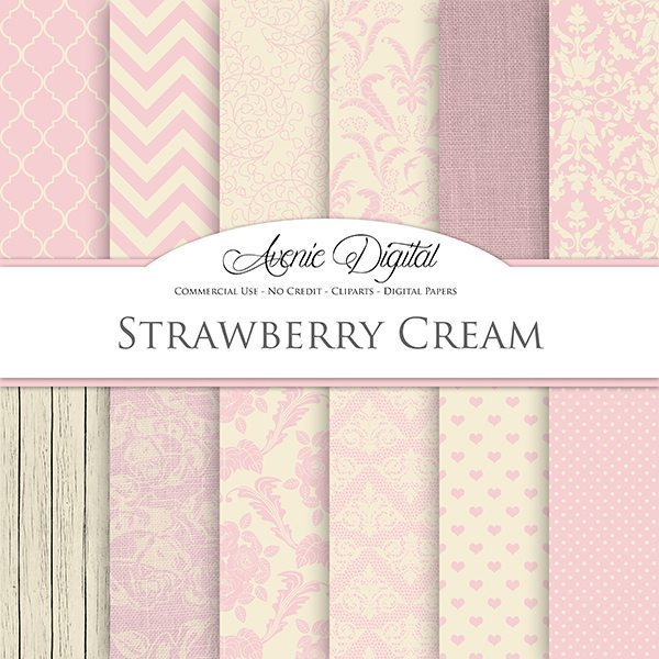Strawberry Cream Wedding Digital Paper  Avenie Digital    Mygrafico