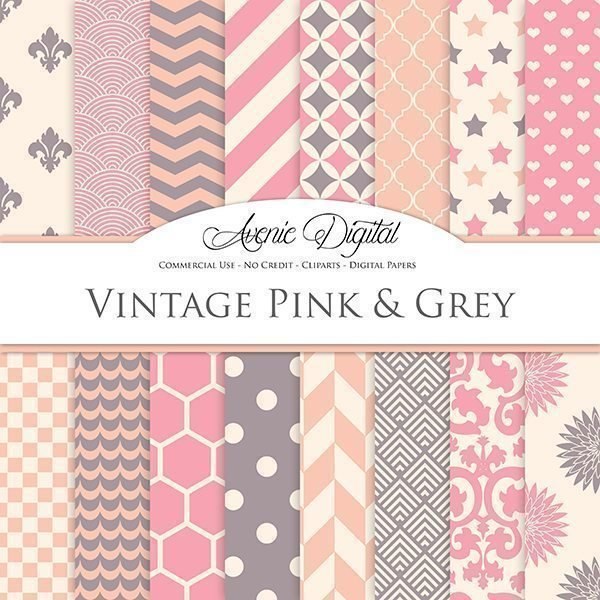Old Pink and Grey Digital Paper  Avenie Digital    Mygrafico