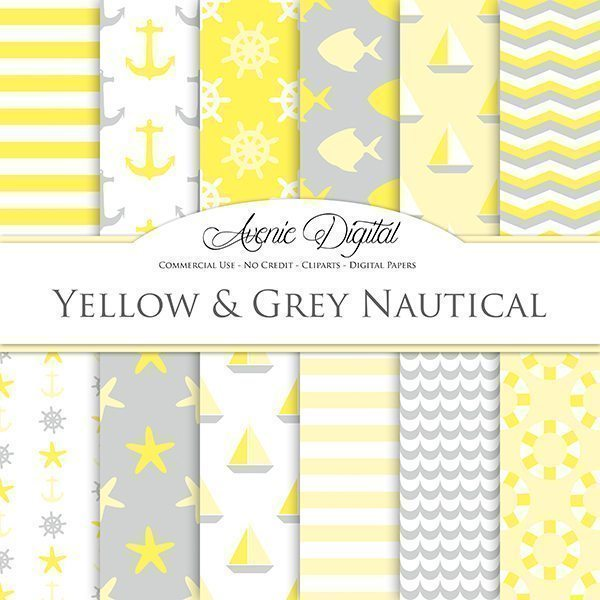 Yellow and gray Nautical Digital Paper  Avenie Digital    Mygrafico