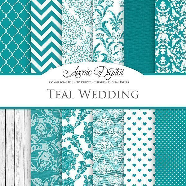 Teal Wedding Digital Paper  Avenie Digital    Mygrafico
