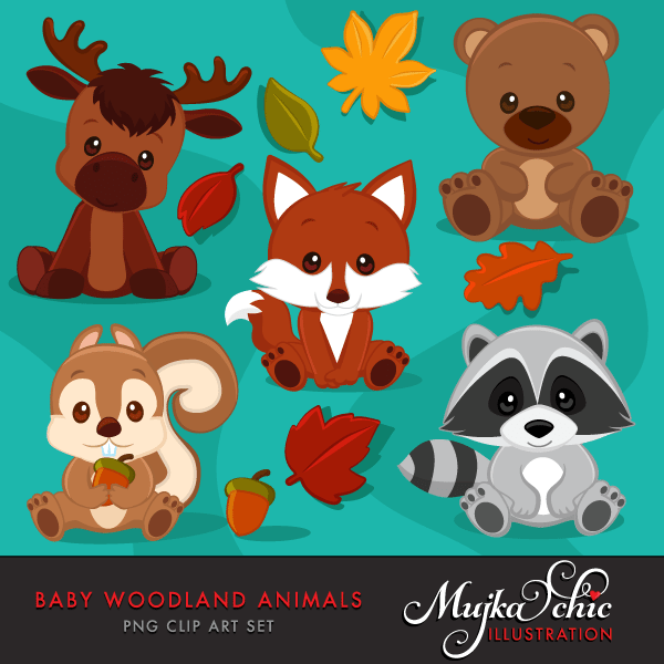 Baby Woodland Animals Clipart  Mujka Chic    Mygrafico
