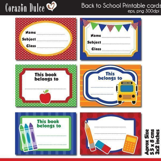 Back to School cards  Corazón Dulce    Mygrafico