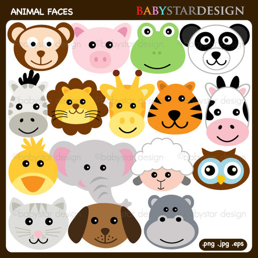 Animal Faces Clipart  by Babystar Design Cliparts Babystar Design    Mygrafico