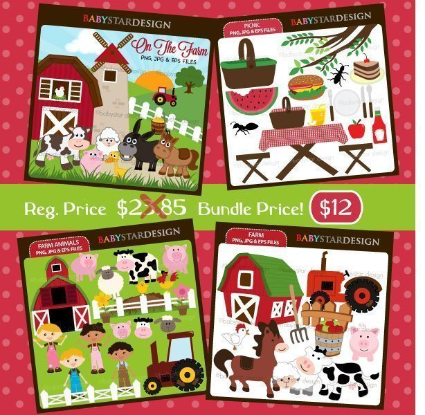 Farm and Barnyard Clipart Bundle  Babystar Design    Mygrafico