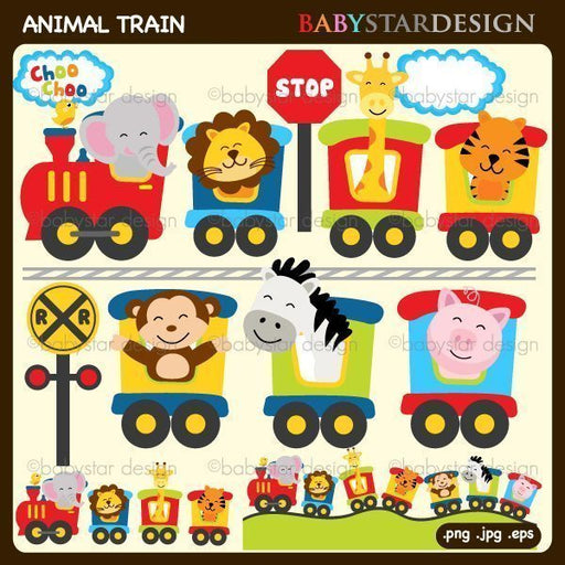 Animal Train Clip Art  by Babystar Design Cliparts Babystar Design    Mygrafico