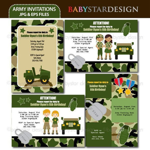 Army - Invitation Templates by Babystar Design Printable Templates Babystar Design    Mygrafico