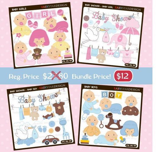 Baby Shower Clipart Bundle by Babystar Design Cliparts Babystar Design    Mygrafico