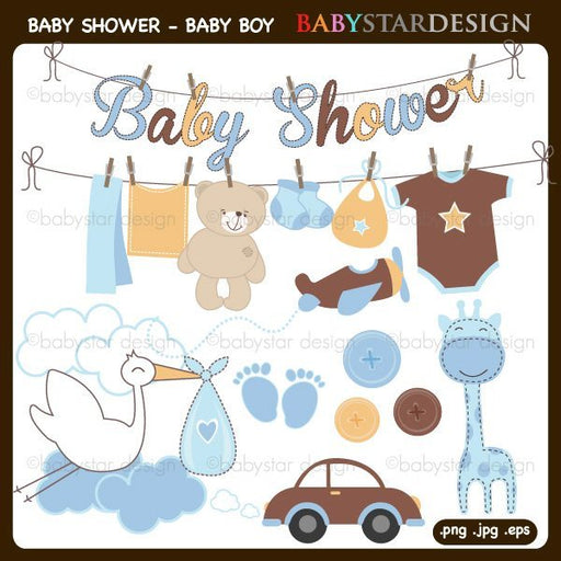 Baby Shower for Baby Boy Clipart by Babystar Design Cliparts Babystar Design    Mygrafico