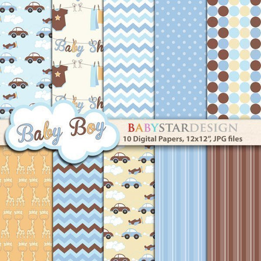 Baby Shower for Baby Boy Digital Paper Pack digital Babystar Design    Mygrafico