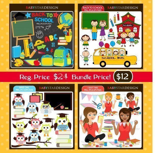 Back to School Clipart Bundle Cliparts Babystar Design    Mygrafico