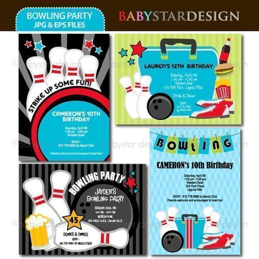 Bowling Party - Invitation Templates  Babystar Design    Mygrafico