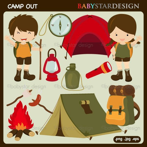 Camp Out Clipart  Babystar Design    Mygrafico