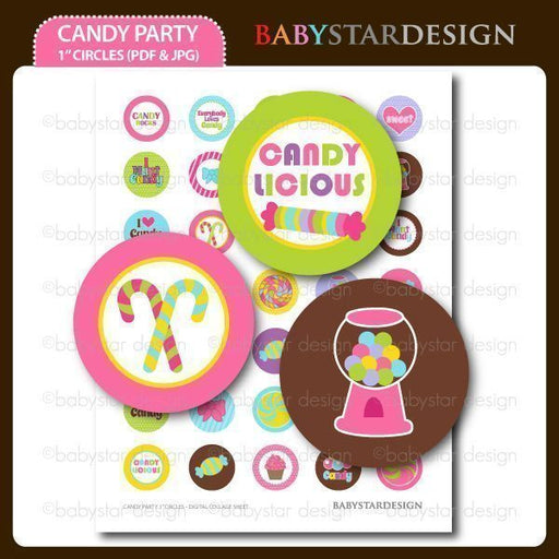 "Candy Party 1"" circles  Babystar Design    Mygrafico"