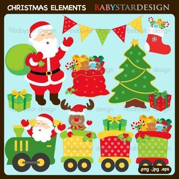 Christmas - Santa & Train Clipart  Babystar Design    Mygrafico