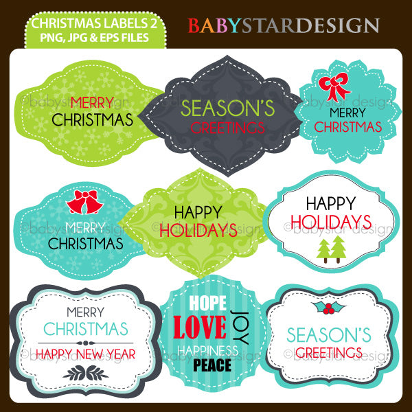 Christmas Labels 2  Babystar Design    Mygrafico