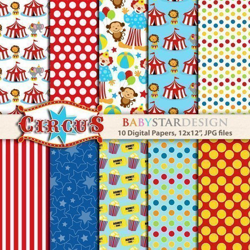 Circus Digital Papers  Babystar Design    Mygrafico