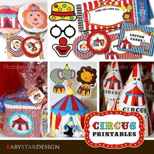 Circus Party Printable Kit Printable Templates Babystar Design    Mygrafico