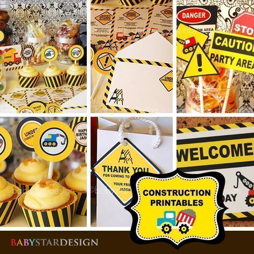 Construction Party Sign Set Printables  Babystar Design    Mygrafico
