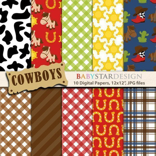 Cowboys Digital Paper Pack  Babystar Design    Mygrafico