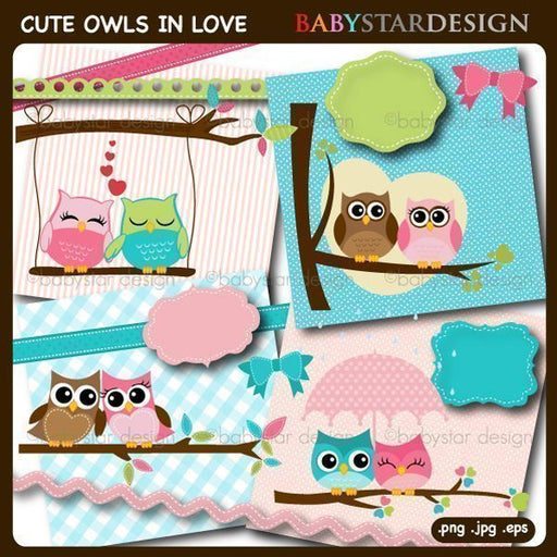Cute Owls in Love Clipart  Babystar Design    Mygrafico