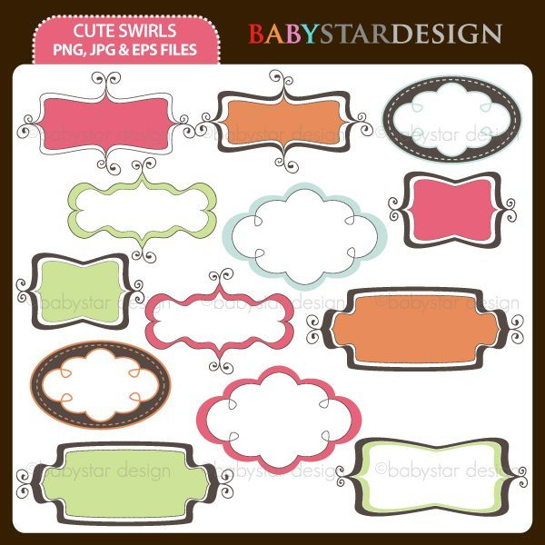 Cute Swirls Frame Set  Babystar Design    Mygrafico
