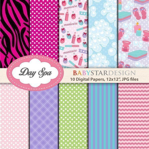 Day Spa Digital Papers  Babystar Design    Mygrafico