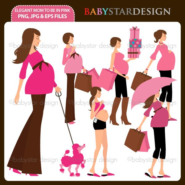 Elegant Mom To Be in Pink  Babystar Design    Mygrafico