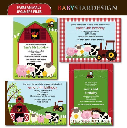 Farm Animals - Invitation Templates