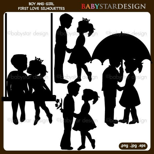 Boy and Girl First Love Silhouettes Clipart  Babystar Design    Mygrafico