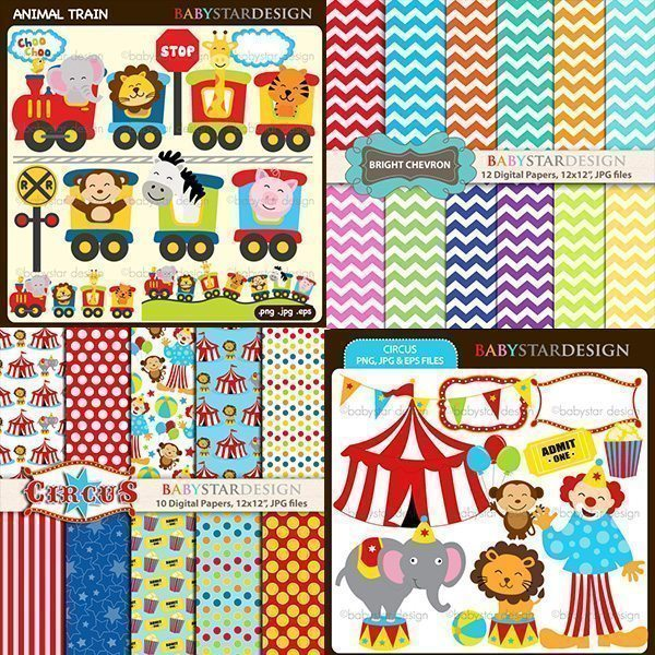 Fun Circus - Cliparts & Papers Bundle  Babystar Design    Mygrafico