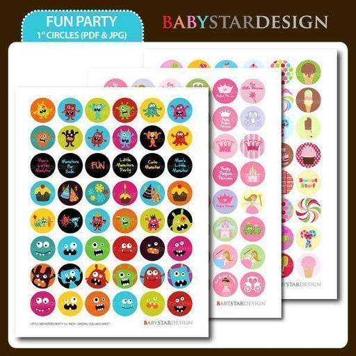 Fun Party 1 Inch Collage Sheet  Babystar Design    Mygrafico