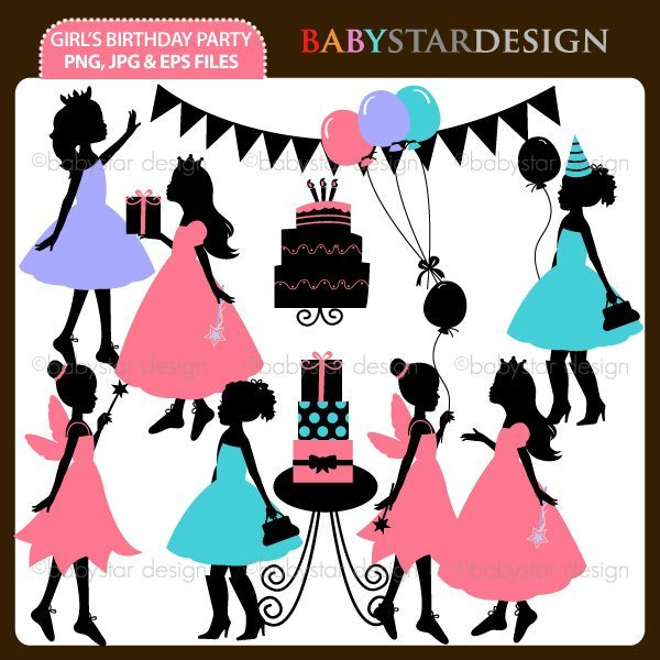 Girl's Birthday Party Silhouettes  Babystar Design    Mygrafico