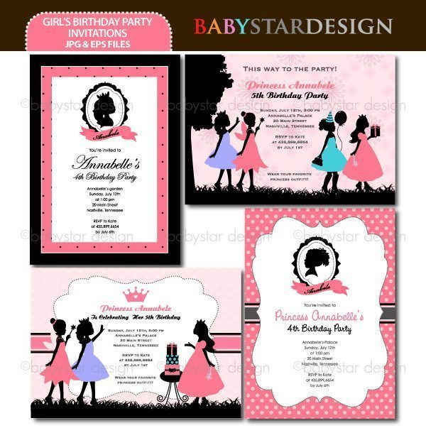 Girl's Birthday Party Silhouettes - Invitation Templates  Babystar Design    Mygrafico