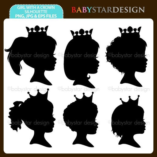 Girl With A Crown Silhouette  Babystar Design    Mygrafico