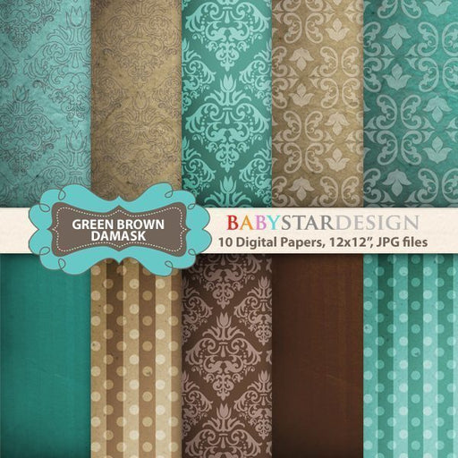 Green and Brown Damask Papers  Babystar Design    Mygrafico