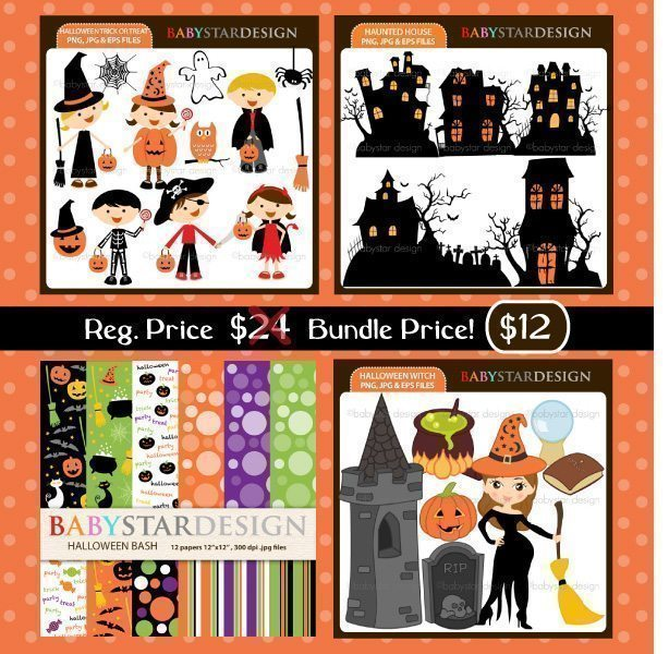 Halloween Clipart Bundle  Babystar Design    Mygrafico