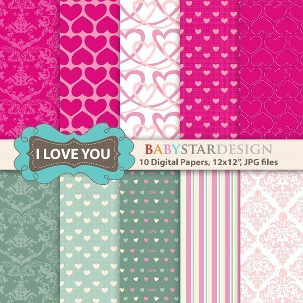 I Love You Digital Papers  Babystar Design    Mygrafico