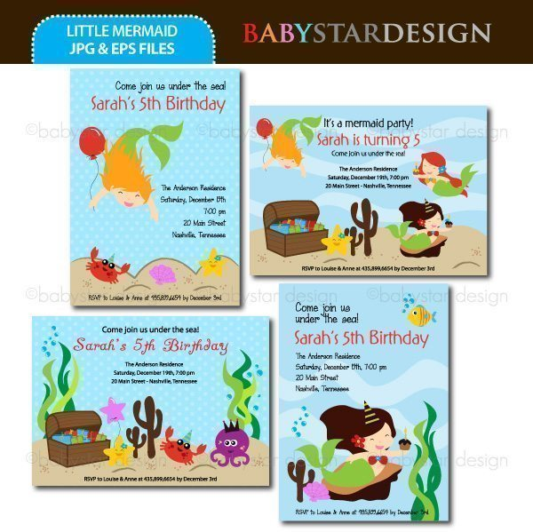 Little Mermaid - Invitation Templates  Babystar Design    Mygrafico