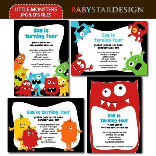 Little Monsters - Invitation Templates  Babystar Design    Mygrafico